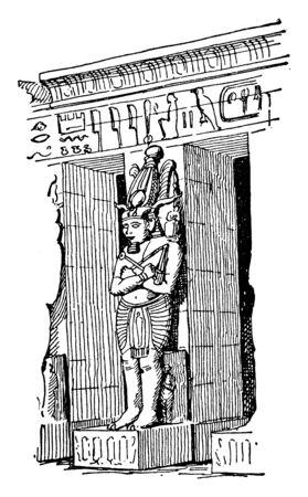 Osiris Pier, Medinet Habu, ancient Egyptian gods, column,  pylon, statue, vintage line drawing or engraving illustration. Çizim