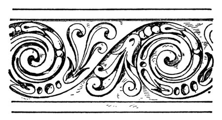 Evolute Spiral Frieze is a wavelike pattern, Its interstices between the lines is decorates with leaves, vintage line drawing or engraving.