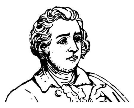 Edmund Burke, 1729-1797, he was an Irish statesman, an author, orator, political theorist, and philosopher, he member of parliament in the House of commons with the Whig party, vintage line drawing or engraving illustration
