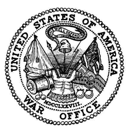 Seal of the Board of War and Ordnance, 1776, this seal shows snake, two flags, gun, spear, cannon and warrior uniform, vintage line drawing or engraving illustration
