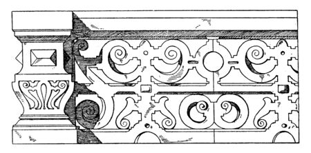 Stone Parapet design of scrolls found on the Dagobert tower, height of a small barrel, building borders, vintage line drawing or engraving illustration.