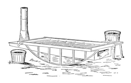 This illustration represents Harris Pan which has the same general form and construction as the foregoing, vintage line drawing or engraving illustration.
