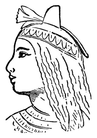 Cleopatra, 69 B.C.- 30 B.C., she was the queen of Egypt, vintage line drawing or engraving illustration 向量圖像