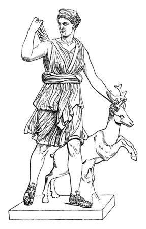 Portrait of Artemis, goddess of hunting holding a deer with one hand and her other hand is on arrows, vintage line drawing or engraving illustration. Illustration