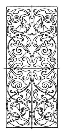 Ivory Inlay Oblong Panel was designed by Hans Schieferstein in Germany, vintage line drawing or engraving illustration.
