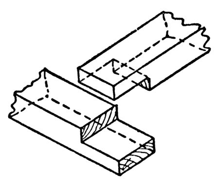 This illustration represents Halving Joint which is used for intermediate framework, vintage line drawing or engraving illustration.