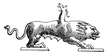 Chimère était un monstre de la mythologie grecque. Il avait une tête de lion, un dos de chèvre et un conte de serpent, un dessin de ligne vintage ou une illustration de gravure.