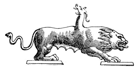 Chimera was a monster from Greek mythology. It had head of lion, back of goat and tale of snake, vintage line drawing or engraving illustration.