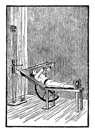 In this image a man is exercising with the folding table for the upper body. This is another way for upper body exercise, vintage line drawing or engraving illustration.