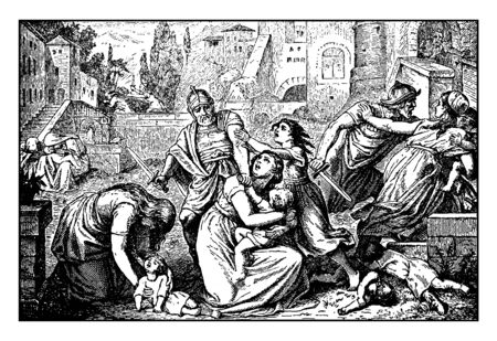 The prophetess Anna kneels before the infant Jesus when Mary and Joseph were going to present Jesus in the Temple, vintage line drawing or engraving illustration. Illusztráció