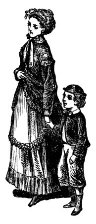 Here in this image the mother is holding the hand of her infant and strolling on the streets, vintage line drawing or engraving illustration. Illusztráció