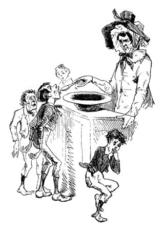 Oliver Twist, this scene shows a man feeding children with spoon from bowl kept on table, children in queue, a child kept hand on mouth after eating, vintage line drawing or engraving illustration