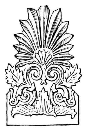 Faade Tile from the Temple of Diana at Ephesus,  the apex and two lower angles,  introduced acroteria, ornaments of flowers and tendrils, statues of gods or animals,  vintage line drawing or engraving illustration. Illustration
