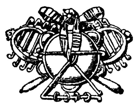 Music Symbol is found in front of the Tuileries a royal palace, it is in Paris, vintage line drawing or engraving.