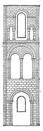 One Bay of Transept or Winchester Cathedral is the area set crosswise to the nave, It have greatest overall length of any Gothic and have a part of a monastic settlement, vintage line drawing or engra