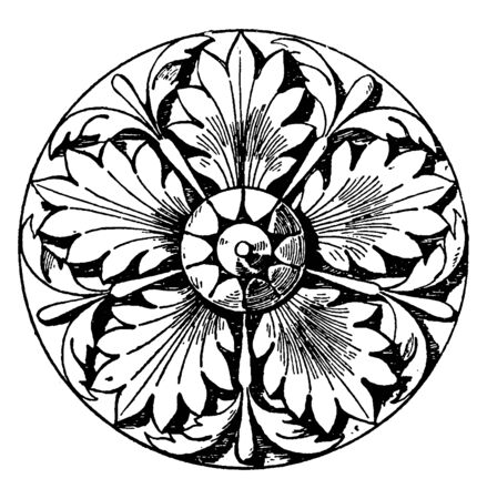Italian Rosette made of five divisions, It is found on the door of the baptistery in Parma, vintage line drawing or engraving illustration.