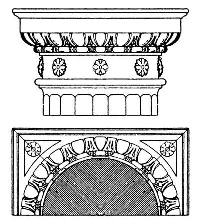 Doric Capital, echinos, Italian Renaissance, square, supports, vintage line drawing or engraving illustration. Archivio Fotografico - 133019570
