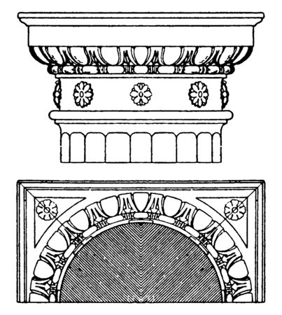 Doric Capital, echinos, Italian Renaissance, square, supports, vintage line drawing or engraving illustration. Illustration