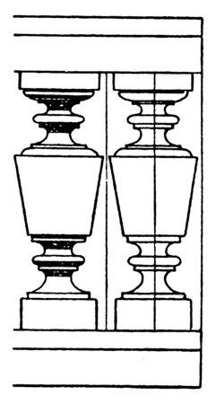 Modern Baluster, aesthetic, open, detail, lathe, turned, vintage line drawing or engraving illustration.