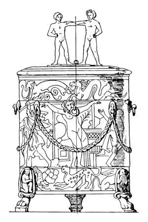 This antique bronze cist is a chest or box like space used to hold the bodies of the dead, vintage line drawing or engraving illustration. Illustration