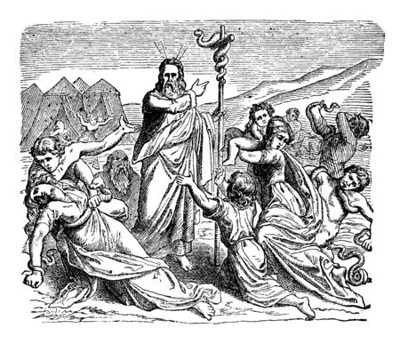 Moses held a snake made up of brass on a pillar. People fell on a ground and alive snakes moving on them, vintage line drawing or engraving illustration.
