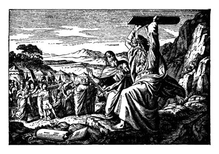 In this image, two adults are in the mouth with their hands thrown to the ground. And the people around him look very sad to see that scene, vintage line drawing or engraving illustration.