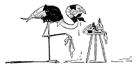 Flamingo wearing human dress standing on one leg, tears falling down from eyes, medicine bottles kept on table in front of table , vintage line drawing or engraving illustration