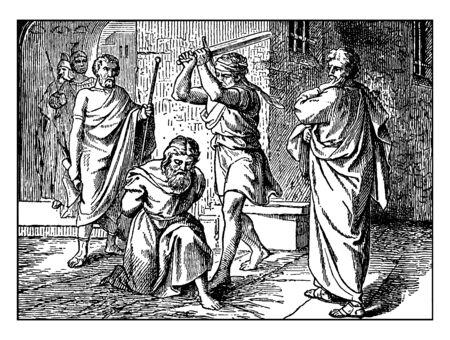 Saint Paul sat on knees and soldeir raised  a sword on his head.Two men stood beside him, vintage line drawing or engraving illustration.