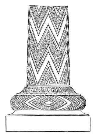 Pillar Fragment from the Treasury of Atreus,  palaces for the preservation of valuables, treasure-houses is circular, covering of a dome shape, form an arch,  vintage line drawing or engraving illustration. Stock Vector - 133019040