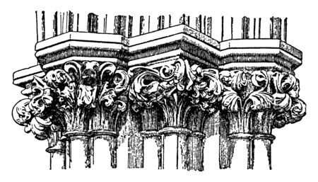Gothic Capitals, inverted, bell, Corinthian, order, scrolling, out, vintage line drawing or engraving illustration.