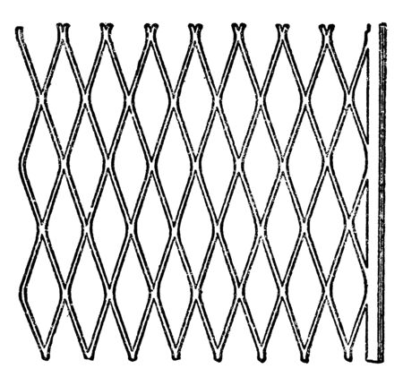 Expanded Metal is sheet metal which cut and stretched to form a regular pattern, commonly used for fences and grates and metallic in lath, vintage line drawing or engraving illustration. 向量圖像