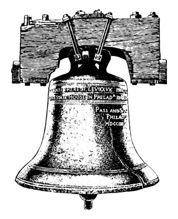Image shows the cracked Liberty Bell. The bell first cracked when rung after its arrival in Philadelphia, and was twice recast by local workmen John Pass and John Stow, vintage line drawing or engraving illustration.
