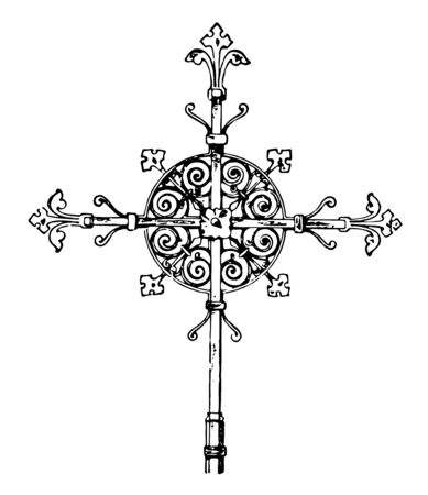 A design of iron tomb cross found in Germany and Thiengen. It has metal plate which is used for inscription, vintage line drawing or engraving illustration.