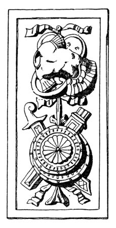 Trophy Plaque Panel decoration was found on the tomb of Galeazzo Pandona, its during the Italian Renaissance, vintage line drawing or engraving.