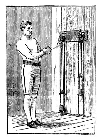 A man doing chest exercise by pulling weights tied on machine from arm at a time. In this exercise, he is pulling weights by taking his left arm near his chest, vintage line drawing or engraving illustration.