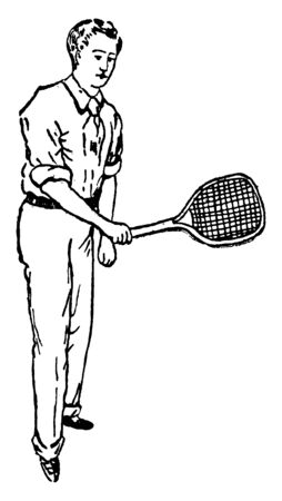 A tennis player is holding racket in his hand and showing correct position of backhand stroke, vintage line drawing or engraving illustration. 向量圖像