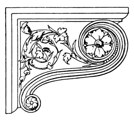 Renaissance Console is richly ornamented with spiral curved leaves, figure head on the bottom, console and figure, vintage line drawing or engraving illustration.