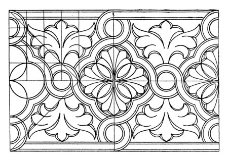Byzantine Interlacement Band consists of wavy arcs, its comes from the St. Sofia in Constantinople, vintage line drawing or engraving. Illustration