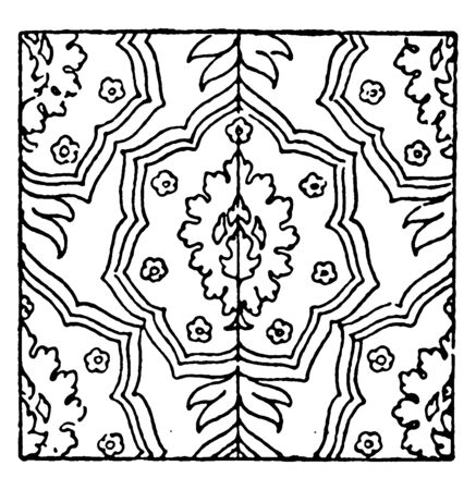 Carpet Pattern is a 17th century design found in Germany, its can be produced on a loom quite similar to woven fabric, vintage line drawing or engraving illustration. Ilustrace