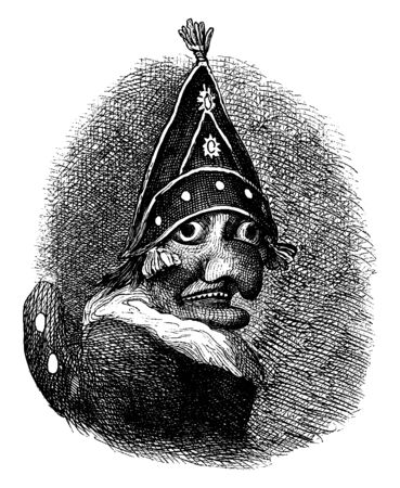 Mr. Punch is a puppet from the popular English puppet show Punch and Judy, vintage line drawing or engraving illustration.
