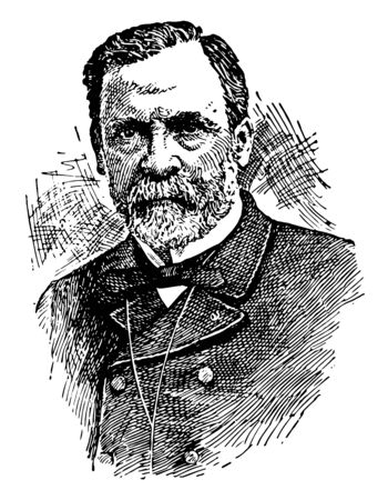 Louis Pasteur, 1822-1895, he was a French biologist, microbiologist and chemist, vintage line drawing or engraving illustration