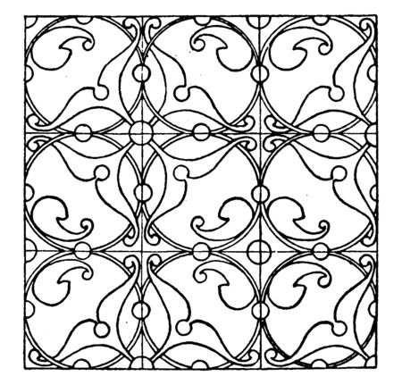 Renaissance Enamel Pattern is a design that uses metal fillets that are filled with pulverized colored glass paste, vintage line drawing or engraving illustration. Stock Illustratie