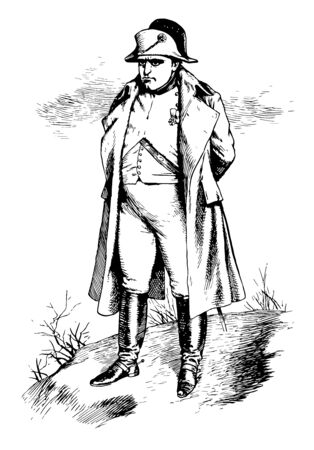 Napoleon, 1769-1821, he was a French military and political leader, emperor of the French and king of Italy, vintage line drawing or engraving illustration Stock Illustratie