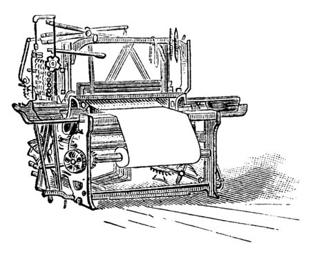 This illustration represents Loom where Industrial looms can weave at speeds of six rows per second and faster, vintage line drawing or engraving illustration. Иллюстрация