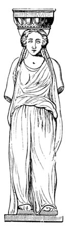 Caryatis from the Erechtheum at Athens, a blending of architecture and sculpture,  not of frequent occurrence,  Caryatides are human figures, vintage line drawing or engraving illustration.