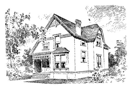 The Baldwin, quaint porch leads to the front door,  independent living, false ashlar front facade and clapboarding, door is ornamented with a classic pediment and lights, vintage line drawing or engraving illustration. Illustration