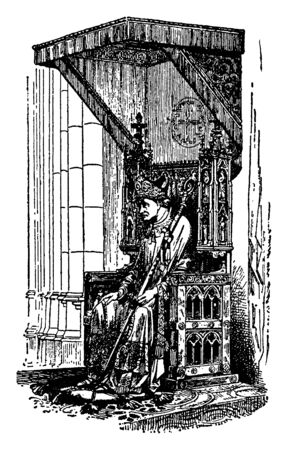 This is A Bishop Sitting on a Bishops Throne Called a Cathedra. This is the big & historical throne of Bishop, vintage line drawing or engraving illustration.