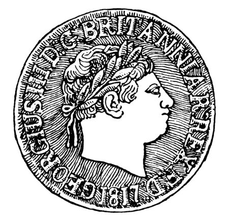 British Sovereign of George III, 1817, Obverse, A British gold coin from the time of George III, the obverse of the coin bears his profile, vintage line drawing or engraving illustration