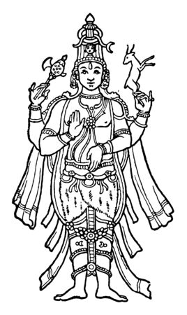 In this image there is Lord Shiva. He is an important place in Hinduism, vintage line drawing or engraving illustration.