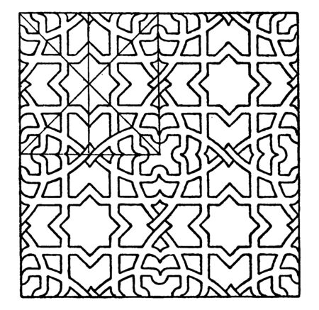 Geometrical Pattern found in the St. Croce church in Florence, vintage line drawing or engraving illustration. Ilustrace